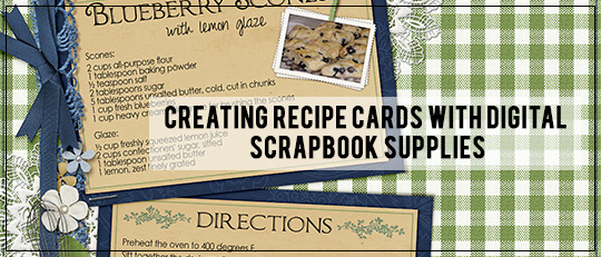 Creating Recipe Cards with Digital Scrapbook Supplies