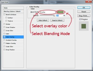 select overlay color