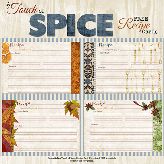 touch of spice free printable recipe cards