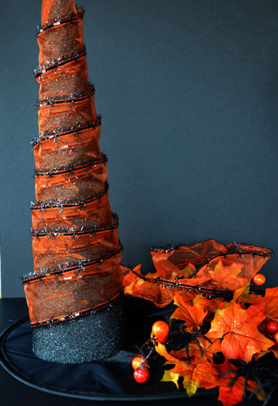 attach ribbon to styrofoam cone