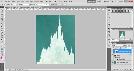 clip digital paper to castle silhouette