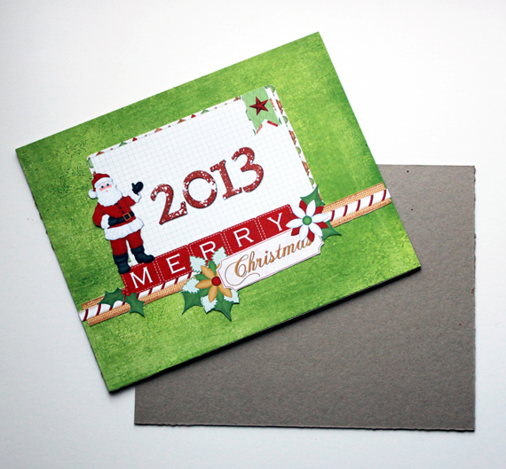 glue christmas card cover to chipboard