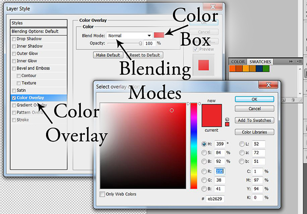 Coloring a template using the Layer Style Box