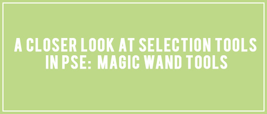 A Closer Look at Selection Tools in PSE: Magic Wand Tools