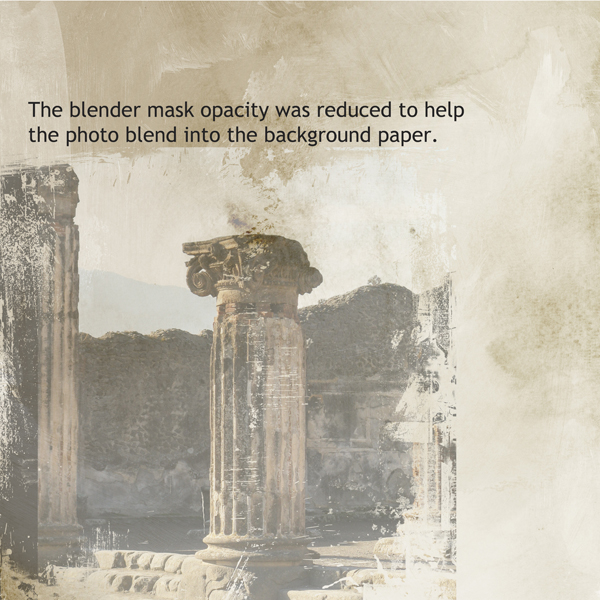 Reducing the opacity of the blender mask to blend into the background.