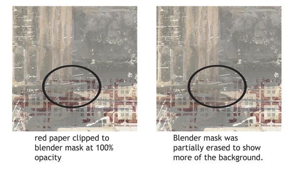 Clipping a paper to the blender mask and erasing part of it.