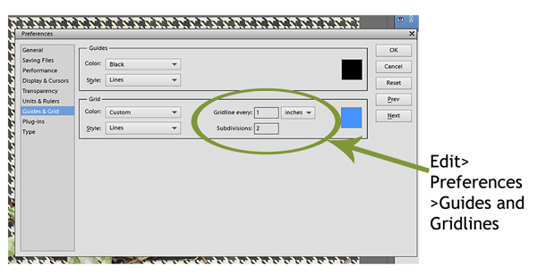 Instructions on how to add gridlines in Photoshop