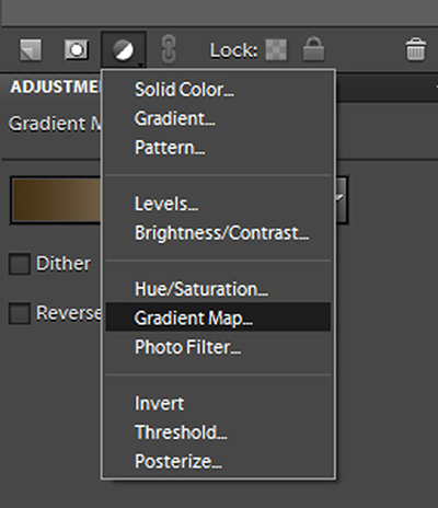 A dropdown showing where to find the Gradient Map