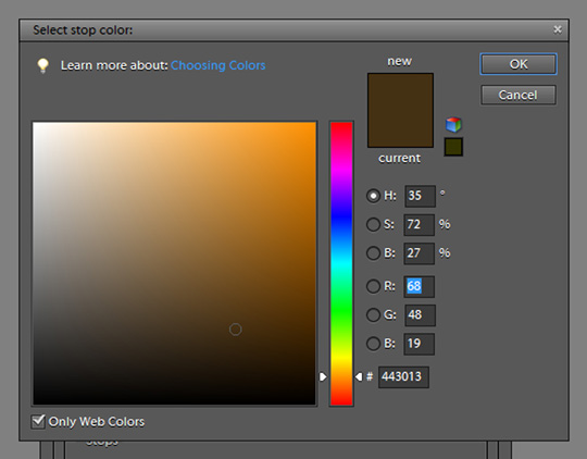 A screenshot showing how to adjust the stop color
