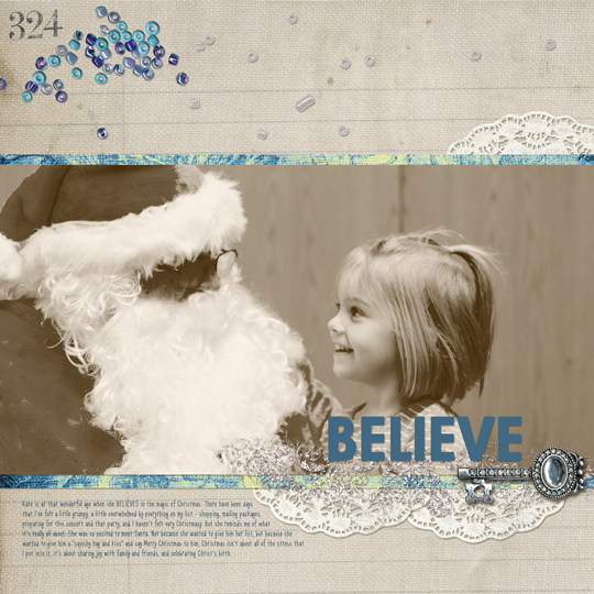 A digital scrapbooking layout with a photo adjusted using a gradient map.