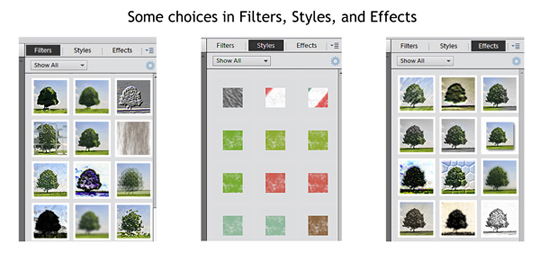 Filters and effects in the layers panel
