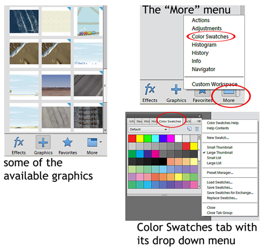 Color swatches found under the more menu