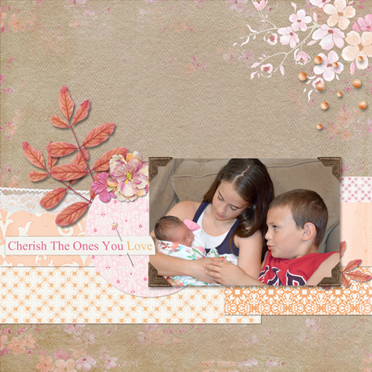 A digital scrapbooking layout where the photo was enhanced using levels in photoshop