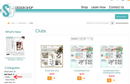 A screenshot showing where to find the Scrap Girls Club in the shop.