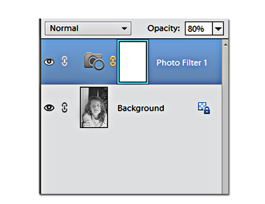 Adjust the opacity to tone down the sepia