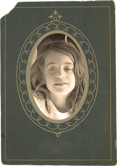 An aged photo with an antique digital frame