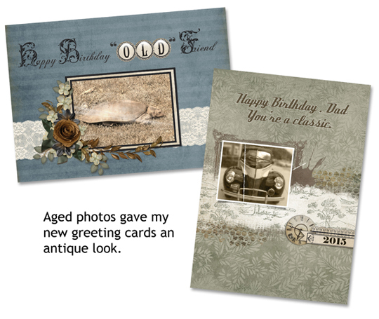 Birthday card featuring aged photos