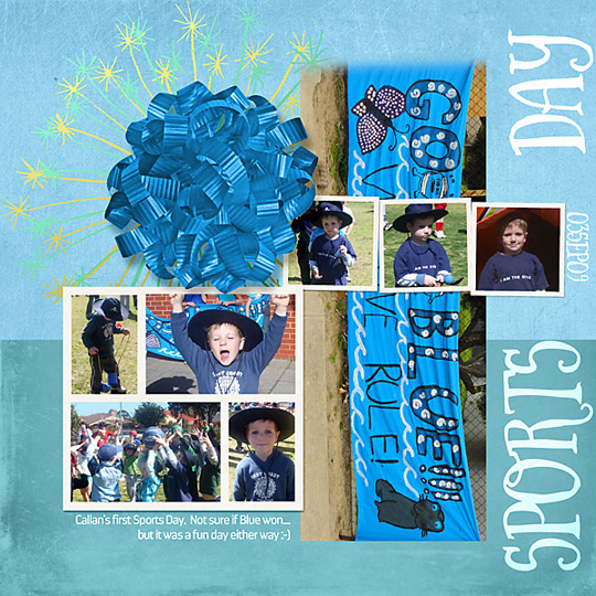 A finished scrapbook layout with a flipped and rotated template