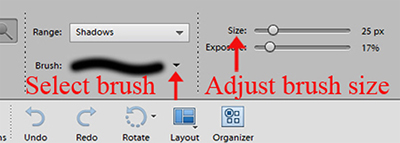 Select a brush and brush size to use with Dodge and Burn tools