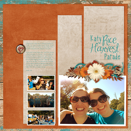 An example digital scrapbooking layout showing the faux golden light effect.