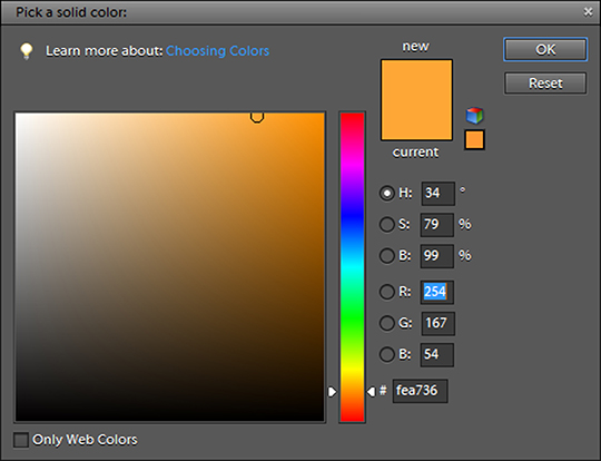 A screenshot showing how to add the faux golden light effect