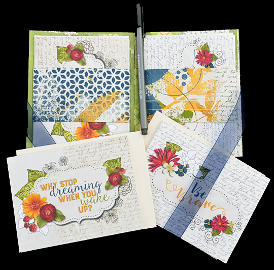 A sample of an all occasion card set that is finished