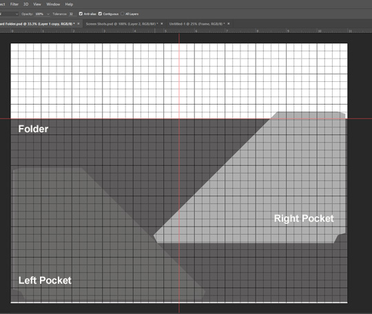 A screen shot in photoshop showing how to layout all occasion card sets
