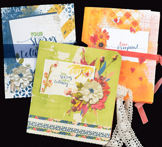 Three finished sets of cards made from digital scrapbooking supplies