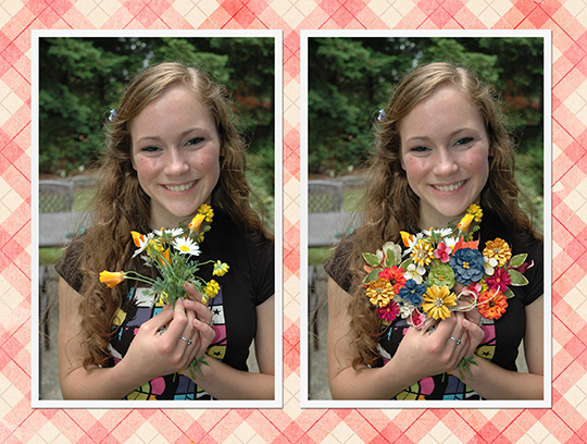 Flowers used to enhance a photo on a digital scrapbooking page