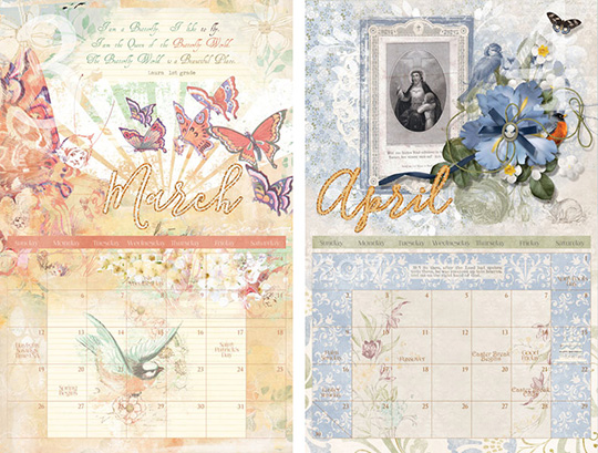 Examples of calendars using scrapbooking pages