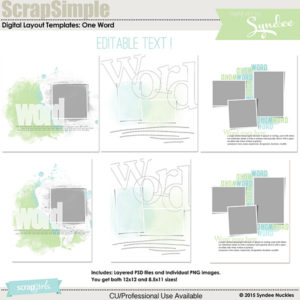 ScrapSimple Digital Layout Template - One Word