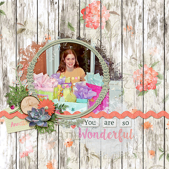A digital scrapbooking page featuring stand out word art