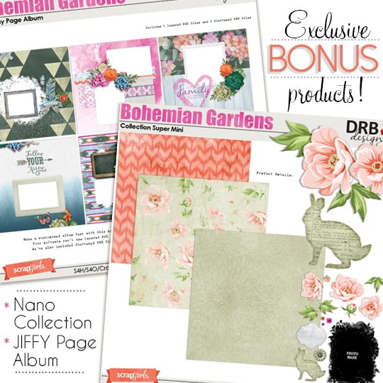 Bonus products included with the February Scrap Girls Club