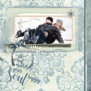 A layout using templates from the January ScrapSimple Club