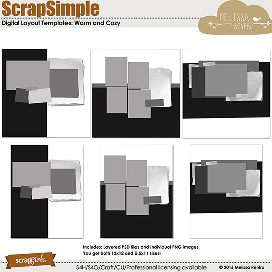 ScrapSimple Digital Layout Templates: Warm and Cozy