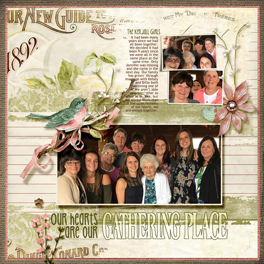 scrapbook layout using Rosehill Cottage digital kit