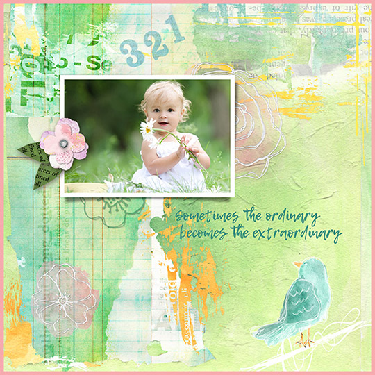 scrapbook layout using April 17 SS Club
