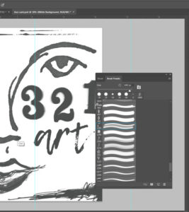 use brushes to create card design