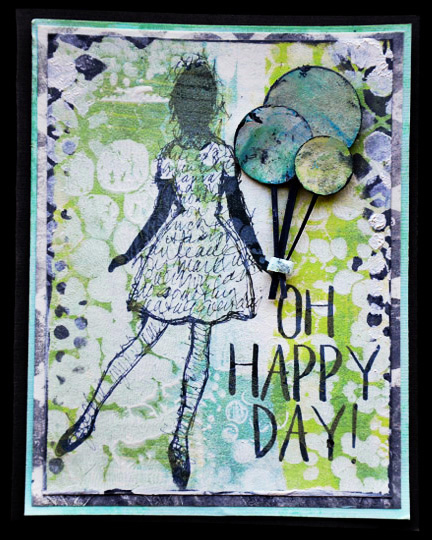 Mixed Media Card using digital and tradition supplies