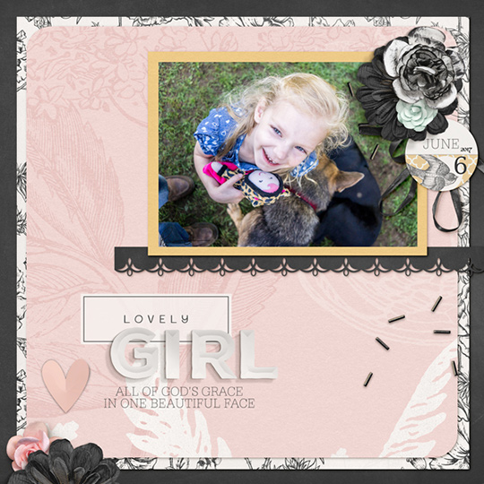 Scrapbook page using June 2017 Grace Scrap Girls Club