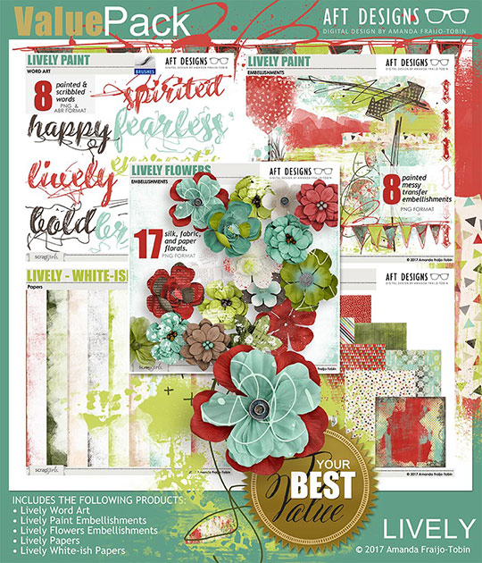 Lively digital scrapbooking kit