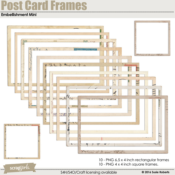 Postcard Frames Embellishments