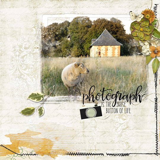 Scrapbook layout using Everyday Stories Oct 2017 club