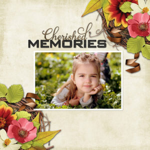 Scrapbook layout featuring Fall Snapshots Club