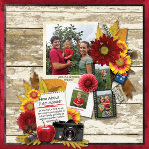 Scrapbook page using Fall Snapshots Club