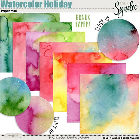 Watercolor Christmas digital textures