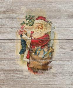 stamped on wood santa
