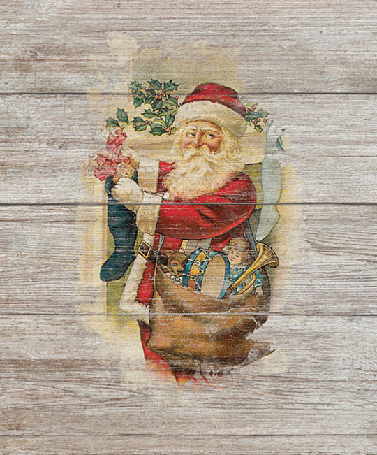 stamped on wood santa
