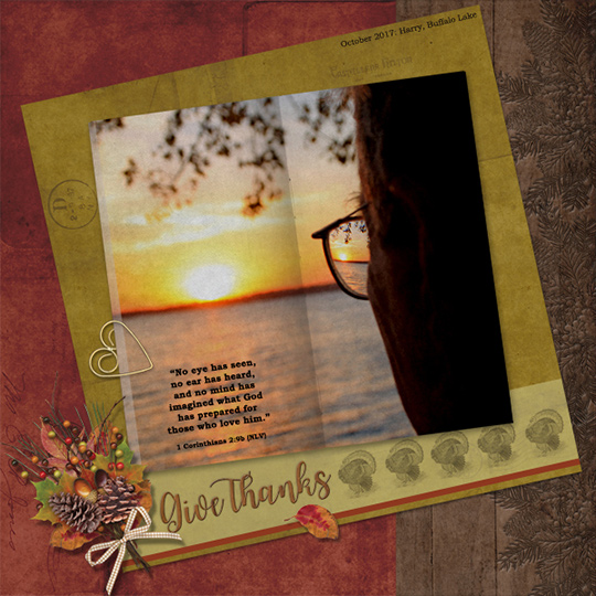 Scrapbook page using Gratitude SS Club