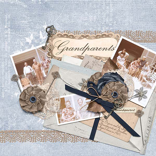 Scrapbook page using Simply Vintage SS Club
